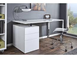 bureau rangement bureau design blanc laque avec rangement compact