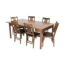 mission style dining room set shop stakmore fruitwood rectangular extending dining table at