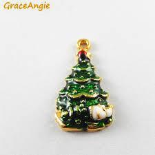 aliexpress com buy 10pcs green enamel christmas tree charms