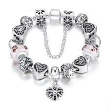 glass bead bracelet charms images Antique silver heart letter crystal glass beads bracelet at jpg