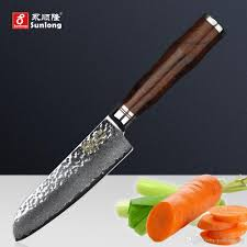sunlong 5 inch santoku knife chef knives damascus steel slicing