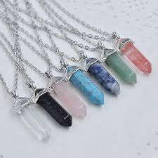 turquoise crystal pendant necklace images 12pcs bullet crystal quartz pendant necklace natural stone real jpg