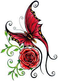 latest red rose and curly butterfly tattoo design in 2017 real