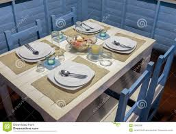 Dining Table Set Up Dining Table With Marine Style Setup Stock Photo Image Of