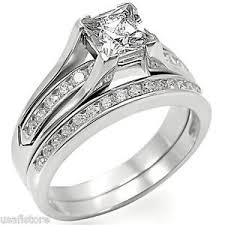 princess cut wedding set princess cut engagement wedding set rhodium ep ring