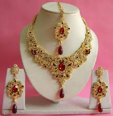 new gold set gold plated new design wedding bridal necklace set np 177 at rs