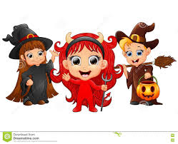 halloween costumes kids with evil and witch and boy