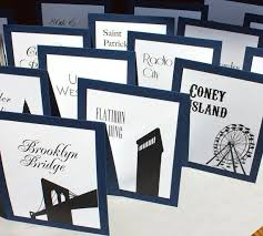 New York Themed Centerpieces by Personalised Table Numbers Use Places That Have Special Meaning