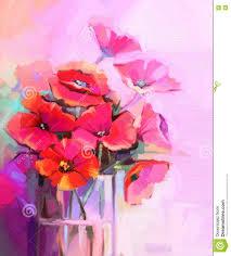 Flowers Glass Vase Oil Painting Bouquet Of Poppy Flowers In Glass Vase Stock