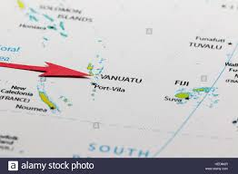 Map Of Pacific Red Arrow Pointing Vanuatu On The Map Of Pacific Ocean Stock Photo