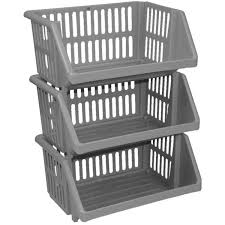 storage shelves with baskets 3 tier silver plastic stacking vegetable food kitchen storage rack