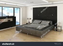Bedroom Bed In Front Of Window Modern Bedroom Interior Grey Bed Bedsheets Stock Photo 153408689