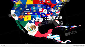 Usa Maps With States by 3d Usa Map With State Flags Zooming Into New Orleans Stock