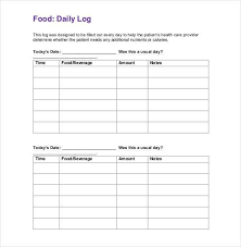 calorie diary template free printable food diary template workout