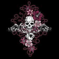 skull with cards garden flag