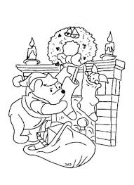 christmas winnie pooh coloring cartoon coloring pages