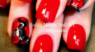 nail art for beginners easy red rose nails roses nail design