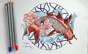 tuto coloriage mandala carpe koï aux crayons de couleur par
