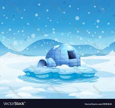 Igloo by An Iceberg With An Igloo Royalty Free Vector Image