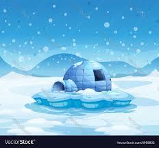 igloo an iceberg with an igloo royalty free vector image