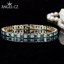 colored tennis bracelet images Angelcz classic square simulated emerald stones gold color simple jpg