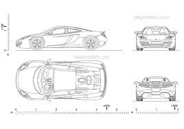 mclaren drawing mclaren mp4 cad blocks car top view side rear front autocad