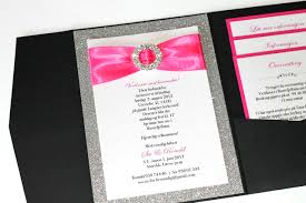 pink wedding invitations embellished paperie silver glitter hot pink and black