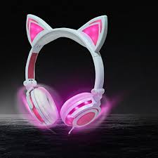 light up cat headphones igeekid upgraded version cat ear kids headphones rechargeable led