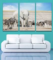 online get cheap zebra print wall murals aliexpress com alibaba 3 pieces picture african wild animal zebra elephant painting canvas print mural art home living office wall decor