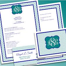 digital printable sorority recruitment packet with resume added by