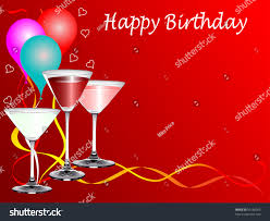 martini birthday card birthday party template drinks glasses balloons stock illustration