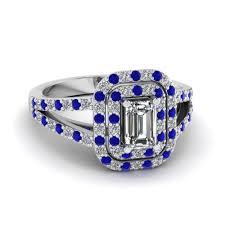 sapphire emerald cut engagement rings emerald cut engagement ring with blue sapphire in 14k