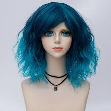 is island medium hair a wig 2018 medium side bang water wave ombre synthetic party cosplay wig