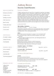 Resume Curriculum Vitae Samples by Unforgettable Security Guard Resume With Entry Level Security