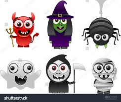 cartoon halloween pic cartoon halloween characters set 1 stock vector 111979079