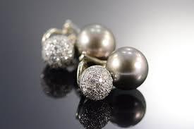 10mm diamond 18k 10mm tahitian pearl 0 75 ctw diamond spark clip white