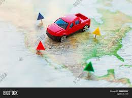 Road Trip Map Usa by Road Trip Car Goes On Map Across The Territory Of The Usa The
