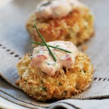 crab canapes panko crusted crab cake bites roasted pepper chive aioli recipe