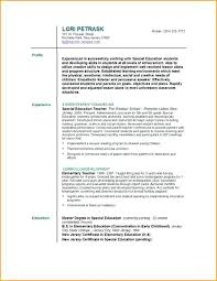 Resume Examples For Teacher Assistant Special Education Teacher Resume Samples For Wording Format Sample