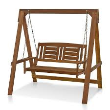 furinno tioman hardwood hanging porch swing with stand in teak oil