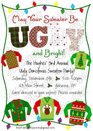 ugly christmas sweater holiday party invite christmas
