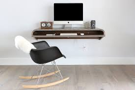 minimal wall desk walnut large pull out shelf ideal for