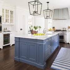 Painted Islands For Kitchens Blue Kitchen Island With Calacatta Gold Extra Marble Countertops
