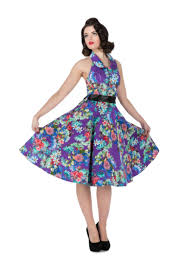 spirit halloween lansdowne collared purple floral halter dress rockabilly floral and purple