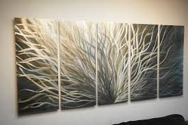 Decor Online Stores Radiance Gold Silver 36x79 Metal Wall Art Abstract Sculpture