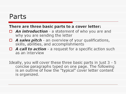 parts of cover letter cover letters ppt