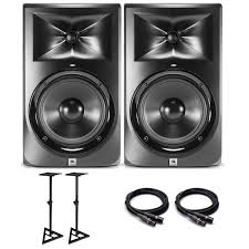 jbl home theater speakers jbl lsr305 studio monitor bundle with monitor stands and pro xlr