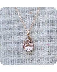 wedding necklace gifts images Bargains on swarovski blush pink teardrop crystal rose gold