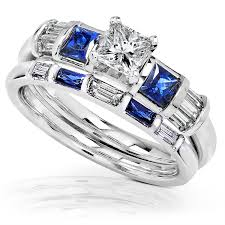 wedding rings sets for blue sapphire diamond wedding rings set 1 carat ctw in 14k