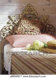 stock photography of pillows pillows on twin bed with ornate